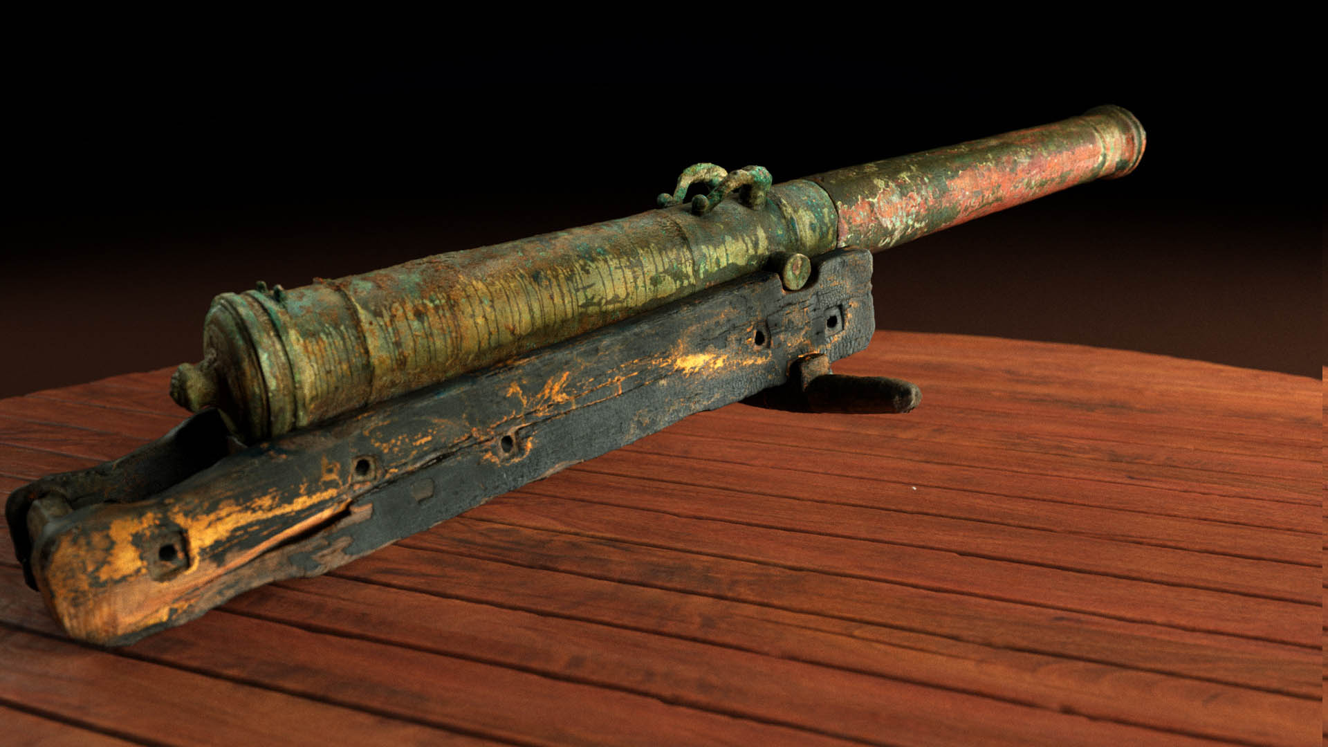 3D scan of bronze cannon from shipwreck mars
